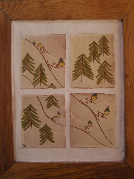 Petite fresque à ski 40x30cm